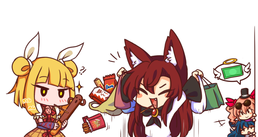 !? >:) 4girls :d animal_ear_fluff animal_ears arms_up bag bangs black_headwear blonde_hair blue_hair blunt_bangs blush blush_stickers bow brooch brown_hair chibi closed_eyes commentary d: dollar_bill double_bun dress eyebrows_visible_through_hair fang food food_in_mouth hair_between_eyes hair_bow halo haniwa_(statue) hat holding holding_bag imaizumi_kagerou jewelry joutouguu_mayumi long_hair long_sleeves mg_mg mini_hat mini_top_hat mouth_hold multiple_girls open_mouth orange_hair pocky pocky_day puffy_short_sleeves puffy_sleeves red_bow shirt short_hair short_sleeves siblings simple_background sisters smile top_hat touhou upper_body v-shaped_eyebrows white_background white_dress white_shirt wide_sleeves wolf_ears wool_(miwol) yellow_dress yellow_eyes yorigami_jo'on yorigami_shion