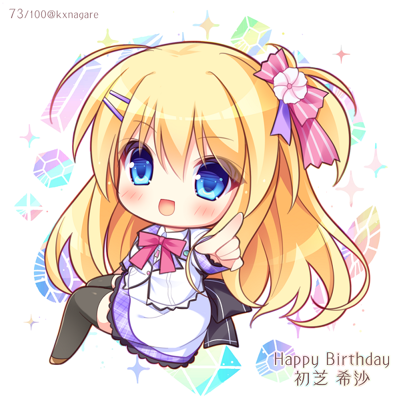 1girl :d bangs black_legwear blazer blonde_hair blue_eyes blush bow brown_footwear character_name chibi collared_shirt commentary_request diamic_days eyebrows_visible_through_hair flower full_body hair_between_eyes hair_bow hair_flower hair_ornament hairclip happy_birthday hatsushiba_kiba jacket long_hair long_sleeves looking_at_viewer looking_to_the_side one_side_up open_mouth outstretched_arm pink_bow pink_flower plaid pointing pointing_at_viewer ryuuka_sane school_uniform shirt sitting skirt smile solo striped striped_bow thigh-highs twitter_username very_long_hair white_jacket white_shirt white_skirt