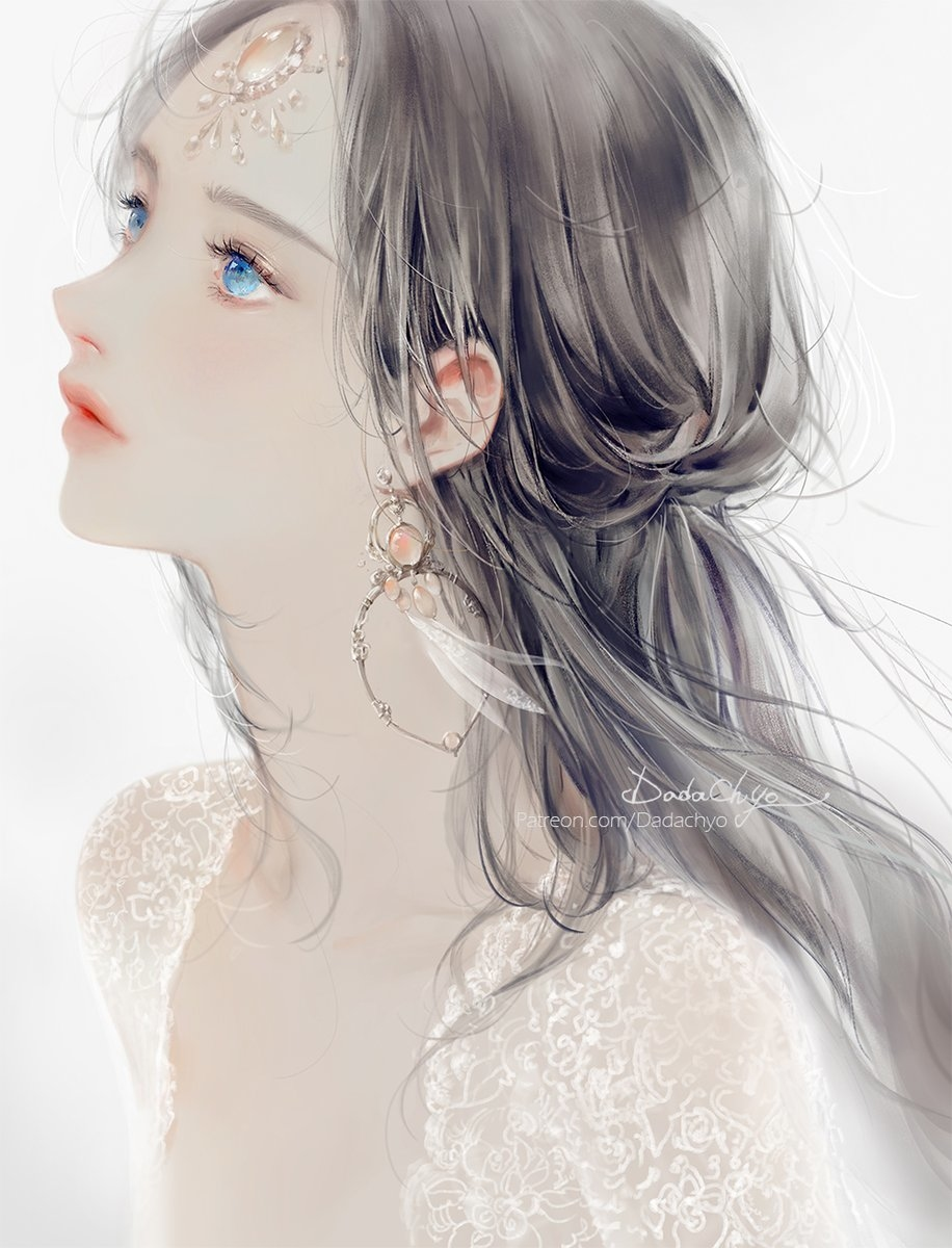 1girl artist_name black_hair blue_eyes dadachyo earrings eyelashes forehead_jewel from_side gem half_updo highres jewelry lace lips long_hair looking_away looking_up original parted_lips portrait simple_background solo transparent watermark web_address white_background