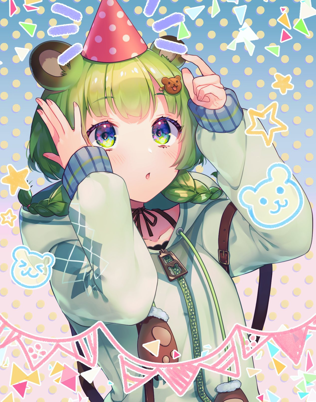 1girl animal_ear_fluff animal_ears animare bangs bbbannooo bear_ears bear_hair_ornament blush braid collarbone gradient gradient_background green_eyes green_hair green_hoodie hair_ornament hairclip hat highres hinokuma_ran hood hood_down hoodie long_sleeves looking_up medium_hair parted_lips party_hat polka_dot polka_dot_background solo twin_braids upper_body virtual_youtuber zipper zipper_pull_tab