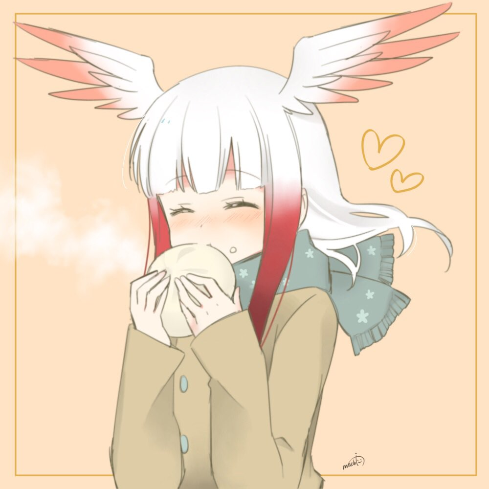 1girl ^_^ alternate_costume bangs baozi beige_coat blunt_bangs blush closed_eyes commentary_request eating eyebrows_visible_through_hair food food_on_face gradient_hair green_scarf head_wings heart japanese_crested_ibis_(kemono_friends) kemono_friends long_hair long_sleeves multicolored_hair redhead scarf simple_background solo upper_body uzuki_machi white_hair