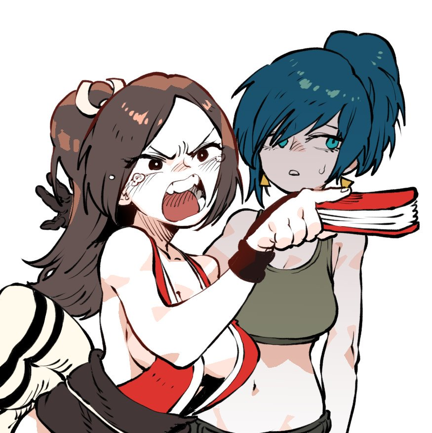2girls angry arm_guards bangs bare_shoulders breasts brown_hair closed_fan earrings fan fatal_fury folding_fan high_ponytail idohj12 jewelry large_breasts leona_heidern meme midriff multiple_girls navel ninja obi open_mouth pelvic_curtain ponytail revealing_clothes sash shiranui_mai snk super_smash_bros. sweatdrop tank_top tears the_king_of_fighters woman_yelling_at_cat