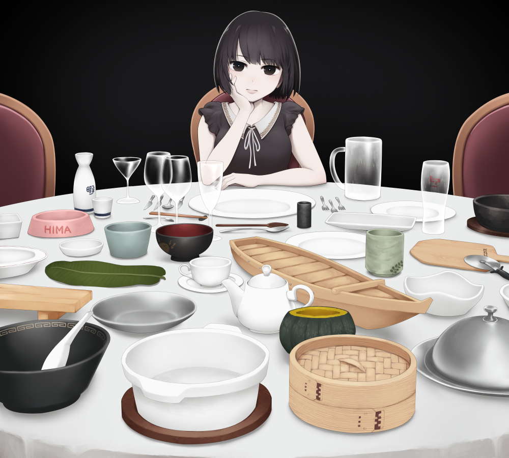 1girl bamboo_steamer bangs black_background black_eyes black_hair boat_(tableware) bob_cut bottle bowl breasts ceramics champagne_flute closed_mouth cocktail_glass commentary_request cup dish drinking_glass elbows_on_table fork fruit_cup hand_on_own_cheek head_rest knife leaf looking_at_viewer mug original peel_(tool) pet_bowl pizza_cutter plate pot pumpkin sake_bottle saucer serving_dome simple_background solo spoon table tablecloth teapot tokkuri transparent tray wine_glass yajirushi_(chanoma) yunomi