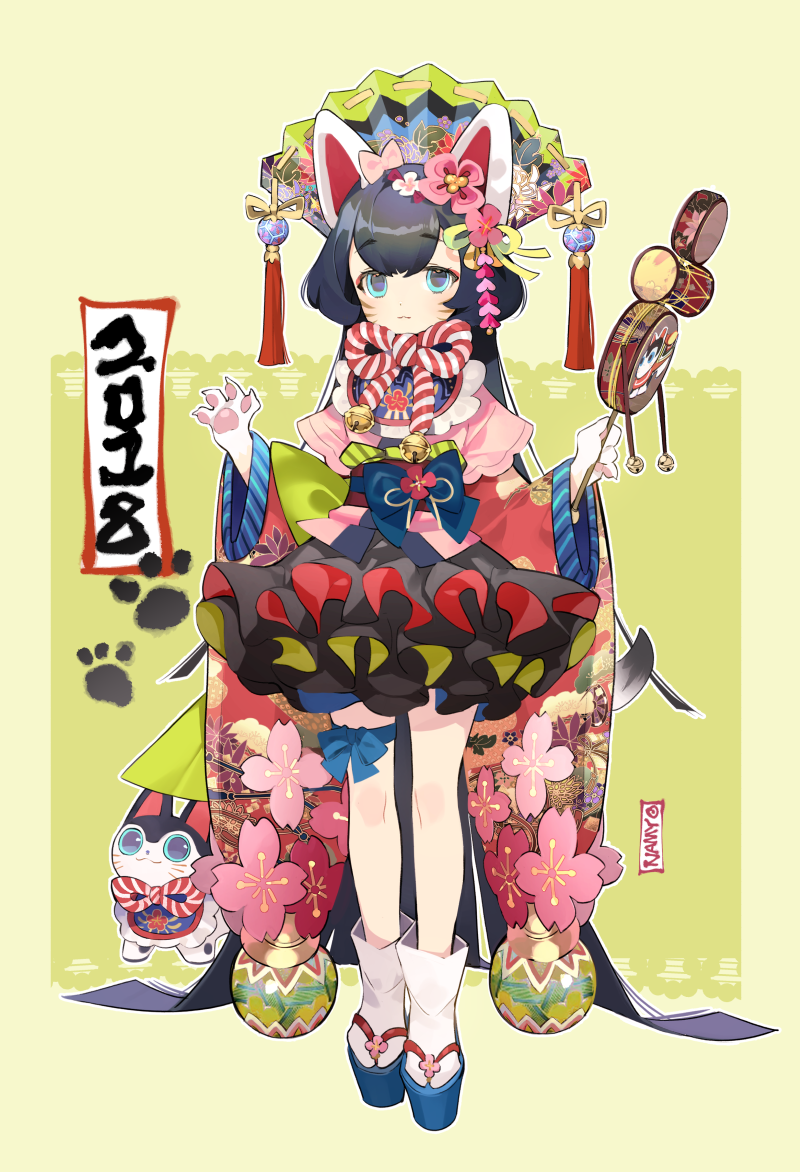 1girl 2018 :3 absurdly_long_hair animal_ears artist_name bell black_hair blue_eyes chinese_zodiac commentary_request dog dog_ears dog_tail facial_mark fan flower folding_fan full_body furry green_background hair_flower hair_ornament holding holding_instrument instrument inu-hariko japanese_clothes jingle_bell kouhaku_nawa layered_skirt long_hair long_sleeves looking_at_viewer namyo new_year obi original outline paw_print paws platform_footwear ribbon sandals sash solo standing tabi taiko_drum tail tassel thigh_ribbon very_long_hair whisker_markings wide_sleeves year_of_the_dog