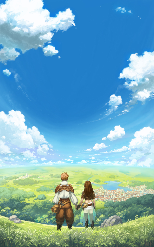 1boy 1girl bag black_gloves black_legwear blue_sky brown_hair clouds commentary commission day english_commentary fisheye from_behind gloves grass hands_together holding_hands horizon kenji_gonzales landscape long_hair long_sleeves midriff official_art original outdoors puffy_long_sleeves puffy_sleeves river scenery see-through shirt short_sleeves sky standing thigh-highs water white_shirt