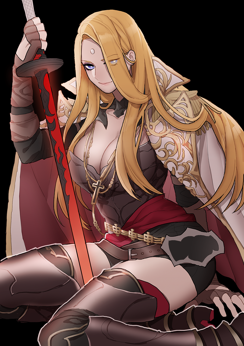 1girl between_legs black_background blonde_hair blue_eyes breasts bright_pupils closed_mouth coat cross cross_necklace epaulettes eyebrows_visible_through_hair eyes_visible_through_hair final_fantasy final_fantasy_xiv fingerless_gloves fuka_(kirrier) genderswap genderswap_(mtf) gloves grey_gloves holding holding_sword holding_weapon jewelry katana large_breasts long_hair looking_at_viewer necklace open_clothes open_coat smile solo straight_hair sword thigh-highs third_eye very_long_hair weapon white_coat white_pupils zenos_yae_galvus zettai_ryouiki