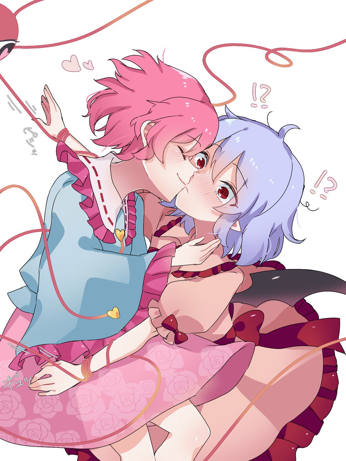!? 2girls ahoge arm_at_side bangs bat_wings blouse blue_blouse blush bound bow buttons cheek-to-cheek closed_eyes closed_mouth collar collared_dress cowboy_shot dress dress_bow dutch_angle embarrassed eringi_(rmrafrn) eyeball eyebrows_visible_through_hair floral_print frilled_blouse frilled_collar frilled_dress frilled_shirt_collar frilled_sleeves frills hair_between_eyes hand_on_another's_shoulder hand_up heart heart-shaped_pupils highres hug kiss komeiji_satori lavender_hair long_sleeves messy_hair multiple_girls no_hat no_headwear outstretched_arms pink_dress pink_hair pink_skirt pointy_ears profile puffy_short_sleeves puffy_sleeves red_bow red_eyes remilia_scarlet restrained ribbon-trimmed_collar ribbon_trim rose_print sash shiny shiny_clothes shiny_hair shiny_skin short_hair short_sleeves sidelocks simple_background skirt slit_pupils symbol-shaped_pupils third_eye tied_up touhou white_background wide_sleeves wings wrist_grab yuri