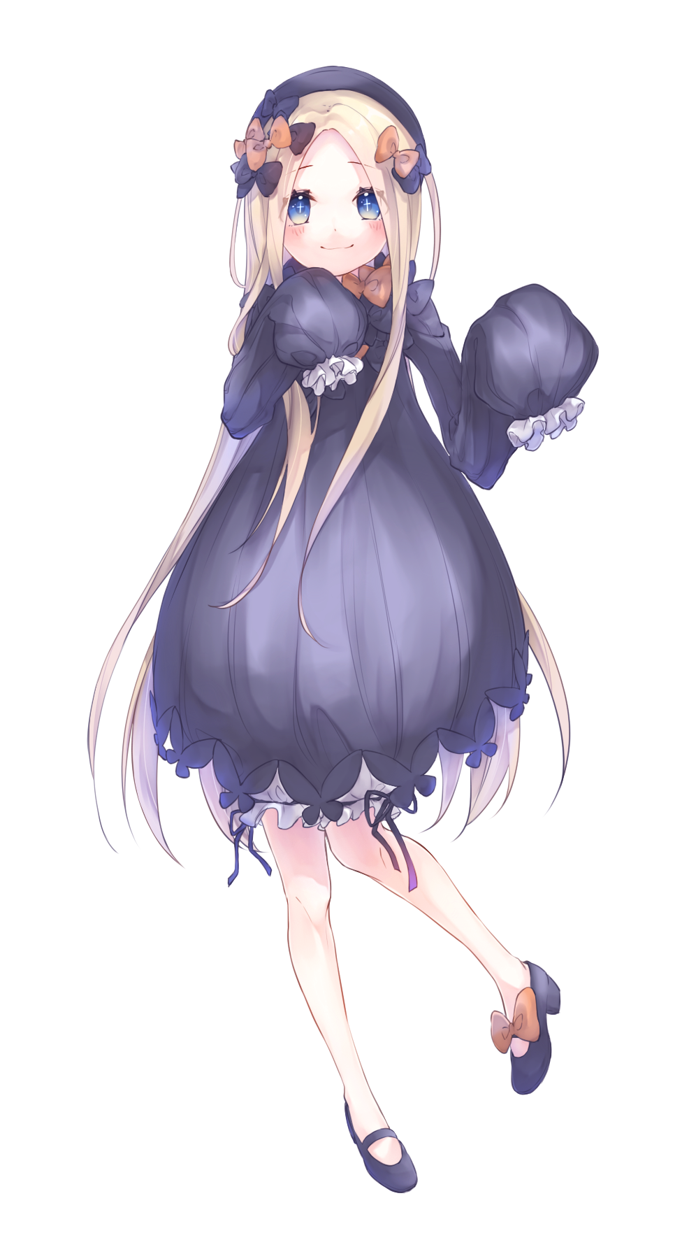 +_+ 1girl abigail_williams_(fate/grand_order) bangs black_bow black_dress black_footwear black_headwear blonde_hair bloomers blue_eyes blush bow bug butterfly closed_mouth commentary_request dress eyebrows_visible_through_hair fate/grand_order fate_(series) forehead full_body hair_bow hands_up hat highres insect long_hair long_sleeves looking_at_viewer orange_bow parted_bangs shoes simple_background sleeves_past_fingers sleeves_past_wrists smile solo standing standing_on_one_leg underwear very_long_hair white_background white_bloomers yoru_(laciexalice)