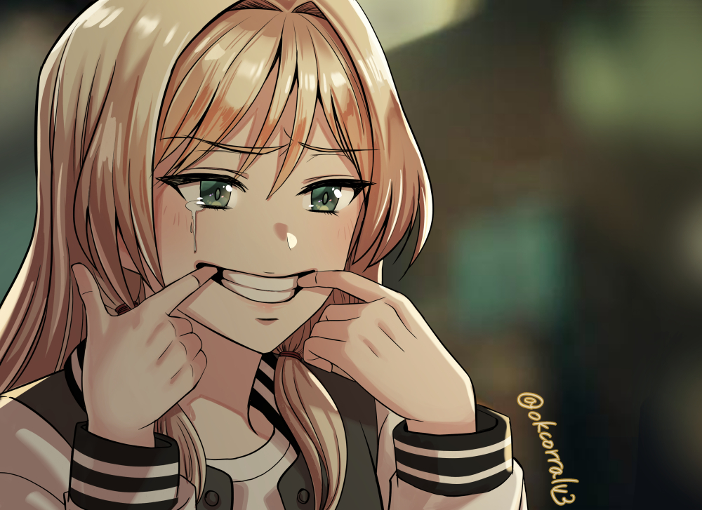 1girl an-94_(girls_frontline) blonde_hair blurry blurry_background commentary_request face fingersmile girls_frontline green_eyes korean_commentary long_hair long_sleeves o.k.corral solo tears teeth twitter_username