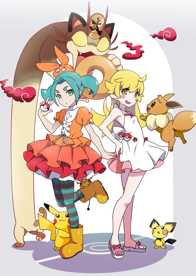 2girls aqua_hair bakemonogatari bangs bare_legs bare_shoulders blonde_hair boots closed_mouth dedenne doughnut dress eevee food frown gesugesu_ahoaho green_eyes hand_on_hip hat headwear long_hair meowth monogatari_(series) multiple_girls ononoki_yotsugi open_mouth orange_dress orange_headwear oshino_shinobu parted_bangs pichu pikachu poke_ball pokemon pokemon_(game) pokemon_swsh ribbon rubber_boots sandals short_sleeves simple_background smoke standing standing_on_one_leg striped striped_legwear tail twintails v white_dress white_ribbon yellow_eyes yellow_footwear