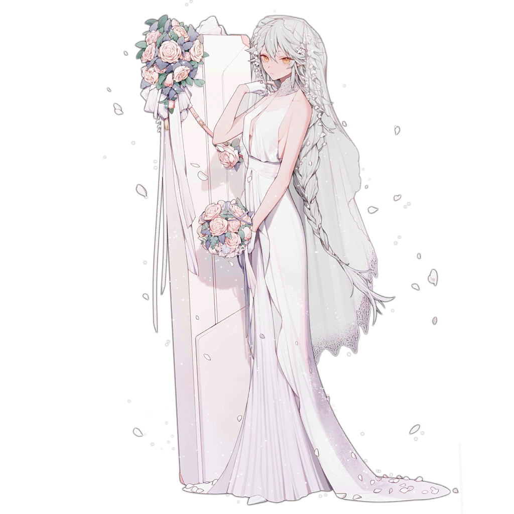 1girl ahoge alternate_costume alternate_hairstyle bangs bare_shoulders blush bouquet braid breasts bridal_veil bride center_opening closed_mouth dress eyebrows_visible_through_hair flower full_body gepard_m1_(girls_frontline) girls_frontline gloves hair_between_eyes hair_ornament half_gloves hand_up holding holding_bouquet km2o4 lace lace-trimmed_dress long_dress long_hair looking_at_viewer medium_breasts messy_hair official_art pale_skin partly_fingerless_gloves petals pink_flower pink_rose rose sidelocks single_braid transparent_background veil very_long_hair weapon_case wedding_dress white_dress white_flower white_gloves white_hair white_rose