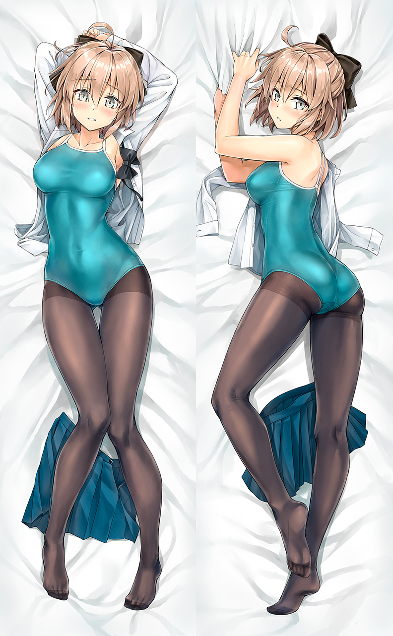 1girl ahoge armpits arms_behind_head arms_up artoria_pendragon_(all) artoria_pendragon_(swimsuit_ruler)_(fate) ass ass_visible_through_thighs bare_arms bare_shoulders bed_sheet black_bow bow bowtie breasts brown_legwear commentary_request covered_navel dakimakura fate/grand_order fate_(series) from_above full_body grey_eyes hair_bow highres kotatsu_(kotatsu358) large_breasts light_brown_hair long_sleeves looking_at_viewer lying multiple_views okita_souji_(fate) okita_souji_(fate)_(all) on_back one-piece_swimsuit open_clothes open_shirt pantyhose school_swimsuit school_uniform shirt short_hair skirt skirt_removed swimsuit swimsuit_under_clothes white_shirt