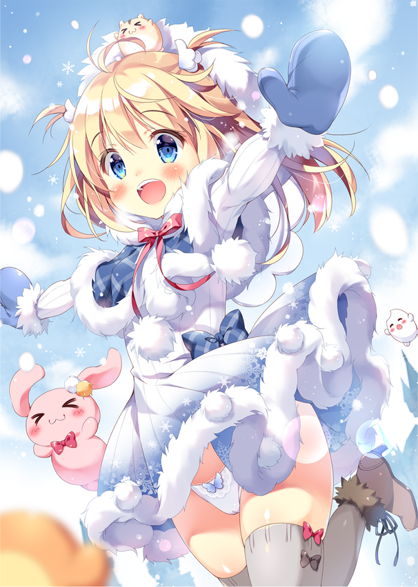 >_< 1girl :3 :d bangs blonde_hair blue_bow blue_capelet blue_eyes blue_mittens blurry blurry_foreground blush bow bow_panties brown_footwear capelet closed_eyes closed_mouth commentary_request depth_of_field dress eyebrows_visible_through_hair fur-trimmed_boots fur-trimmed_capelet fur-trimmed_dress fur-trimmed_mittens fur_trim grey_legwear hair_between_eyes long_hair looking_at_viewer mittens open_mouth original outstretched_arms pan_(mimi) panties pleated_skirt pom_pom_(clothes) red_bow skirt smile snowing solo spread_arms stuffed_animal stuffed_bunny stuffed_toy thigh-highs two_side_up underwear upper_teeth white_dress white_panties
