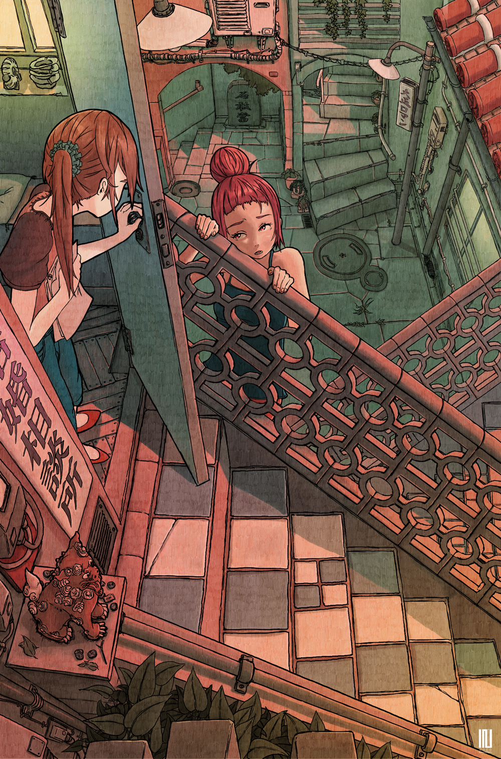 2girls ashtray black_tank_top brown_hair building commentary_request denim from_above hair_bun highres holding inukoko jeans lamppost looking_at_another multiple_girls open_door open_mouth original outdoors pants pink_eyes plant potted_plant railing red_footwear red_shirt redhead shirt short_sleeves side_ponytail sign stairs statue window