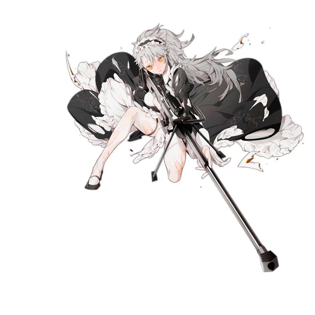 1girl ahoge aiming alternate_costume alternate_hairstyle anti-materiel_rifle apron badge bangs bipod black_ribbon blush breasts closed_mouth damaged dress enmaided frilled_apron frills frown full_body gepard_m1 gepard_m1_(girls_frontline) girls_frontline gun hair_between_eyes head_tilt holding holding_gun holding_weapon juliet_sleeves km2o4 lifted_by_self long_hair long_sleeves looking_away maid maid_headdress mary_janes medium_breasts messy_hair mid-stride neck_ribbon official_art one_knee pale_skin pantyhose paper ponytail puffy_sleeves ribbon rifle scope shoes sidelocks skirt skirt_lift sniper_rifle squatting thigh_strap torn_apron torn_clothes torn_dress torn_legwear transparent_background very_long_hair weapon white_legwear wind wind_lift