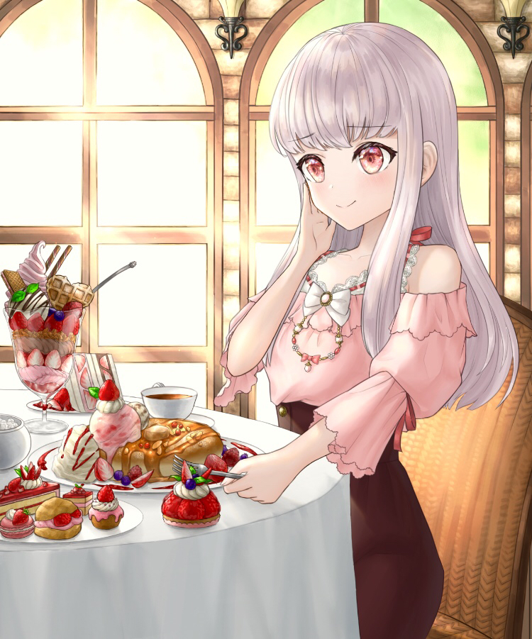 1girl alternate_costume cake chair closed_mouth cup cupcake fire_emblem fire_emblem:_three_houses food fork fruit holding holding_fork ice_cream long_hair long_sleeves lysithea_von_ordelia macaron pink_eyes plate sitting smile solo strawberry table teacup user_zjyt4387 white_hair window