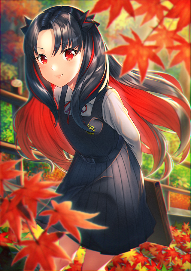 1girl arms_behind_back autumn autumn_leaves bangs belt_buckle black_dress black_hair black_ribbon blurry blurry_foreground blush buckle closed_mouth commentary_request day depth_of_field dress eyebrows_visible_through_hair fate/grand_order fate_(series) feet hair_ribbon holding ishtar_(fate/grand_order) kyon_(fuuran) leaf leaning_forward long_hair long_sleeves looking_at_viewer maple_leaf multicolored_hair outdoors parted_bangs pinafore_dress railing red_eyes red_ribbon redhead ribbon school_briefcase school_uniform shirt smile solo space_ishtar_(fate) standing two-tone_hair two_side_up very_long_hair white_shirt