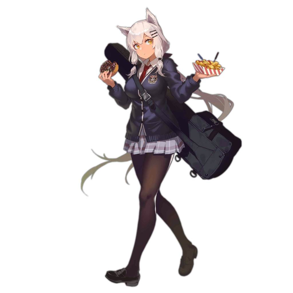 1girl alternate_costume animal_ears bangs black_footwear black_legwear blonde_hair breasts cat_ears collared_shirt dark_skin doughnut eating fangdan_runiu food full_body girls_frontline gradient_hair hair_ornament hairclip holding holding_food large_breasts loafers long_hair long_sleeves looking_at_viewer m590_(girls_frontline) multicolored_hair official_art pantyhose plaid plaid_skirt pleated_skirt purple_cardigan purple_skirt red_neckwear school_uniform shirt shoes skirt snap-fit_buckle solo transparent_background walking weapon_bag white_hair white_shirt yellow_eyes