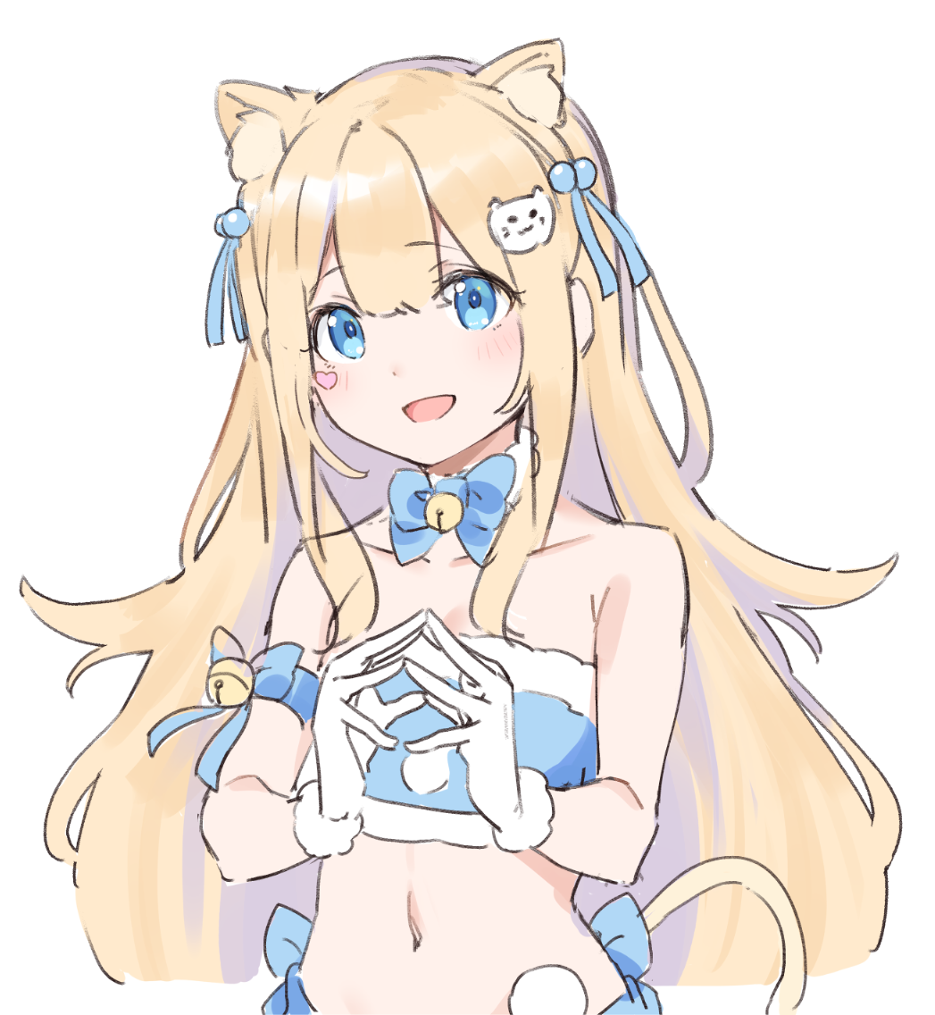 1girl :d animal_ear_fluff animal_ears arm_ribbon bandeau bare_shoulders bell blue_eyes blue_ribbon bow bowtie brown_hair cat_ears cat_girl cat_hair_ornament cat_tail collarbone crop_top extra_ears facial_mark gloves hair_ornament heart jingle_bell long_hair looking_at_viewer midriff nyum open_mouth original ribbon sidelocks simple_background smile solo steepled_fingers tail upper_body white_background white_gloves
