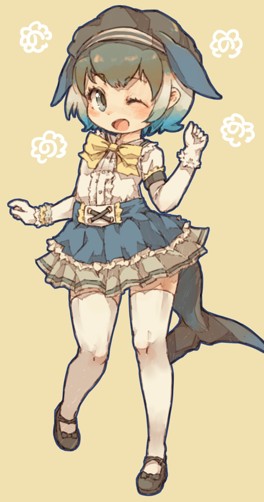 1girl alternate_costume beret black_bow black_footwear black_headwear blonde_hair blue_eyes blue_hair blue_skirt bow bowtie center_frills commentary_request common_dolphin_(kemono_friends) dolphin_fin dolphin_tail elbow_gloves eyebrows_visible_through_hair frilled_skirt frills fur_trim gloves green_hair hat highres kemono_friends kolshica mary_janes multicolored_hair one_eye_closed open_mouth pleated_skirt shirt shoe_bow shoes short_hair short_sleeves simple_background skirt solo standing standing_on_one_leg t-shirt thigh-highs white_frills white_gloves white_hair white_legwear white_shirt yellow_bow yellow_neckwear zettai_ryouiki