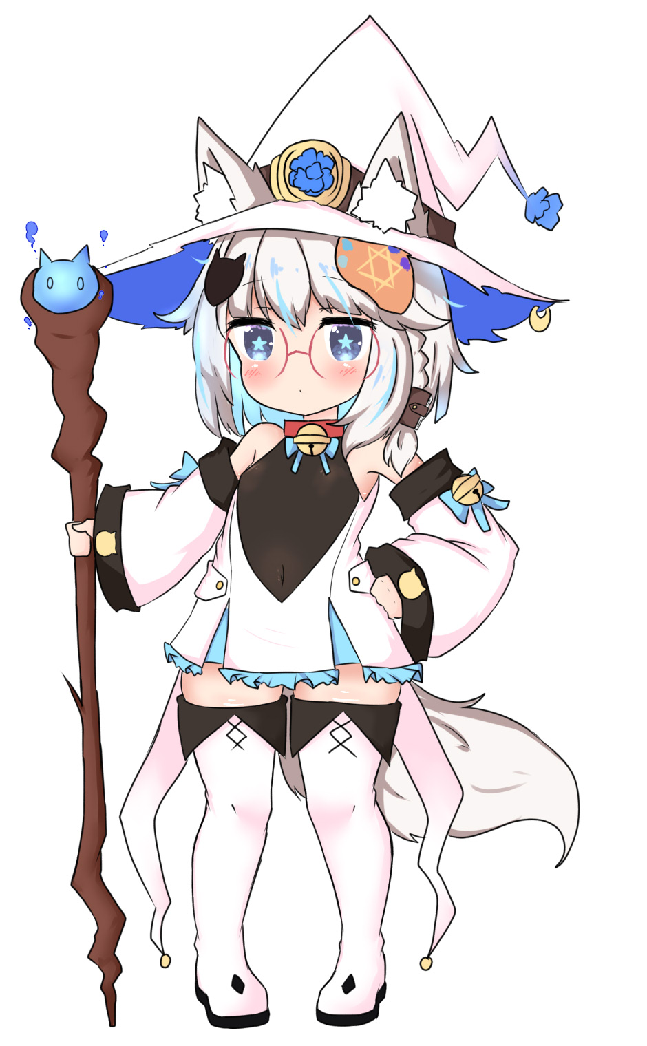 1girl animal_ear_fluff animal_ears bailingxiao_jiu bell black_leotard blue_eyes blue_hair blush boots braid closed_mouth covered_navel detached_sleeves dress ears_through_headwear fox_hair_ornament frilled_dress frills full_body glasses hair_ornament hand_on_hip hat highres holding holding_staff jingle_bell leotard long_sleeves multicolored_hair original pigeon-toed pleated_dress short_dress side_braid silver_hair simple_background sleeves_past_wrists solo staff standing star star-shaped_pupils symbol-shaped_pupils tail thigh-highs thigh_boots two-tone_hair white_background white_dress white_footwear white_headwear white_legwear white_sleeves wide_sleeves witch_hat