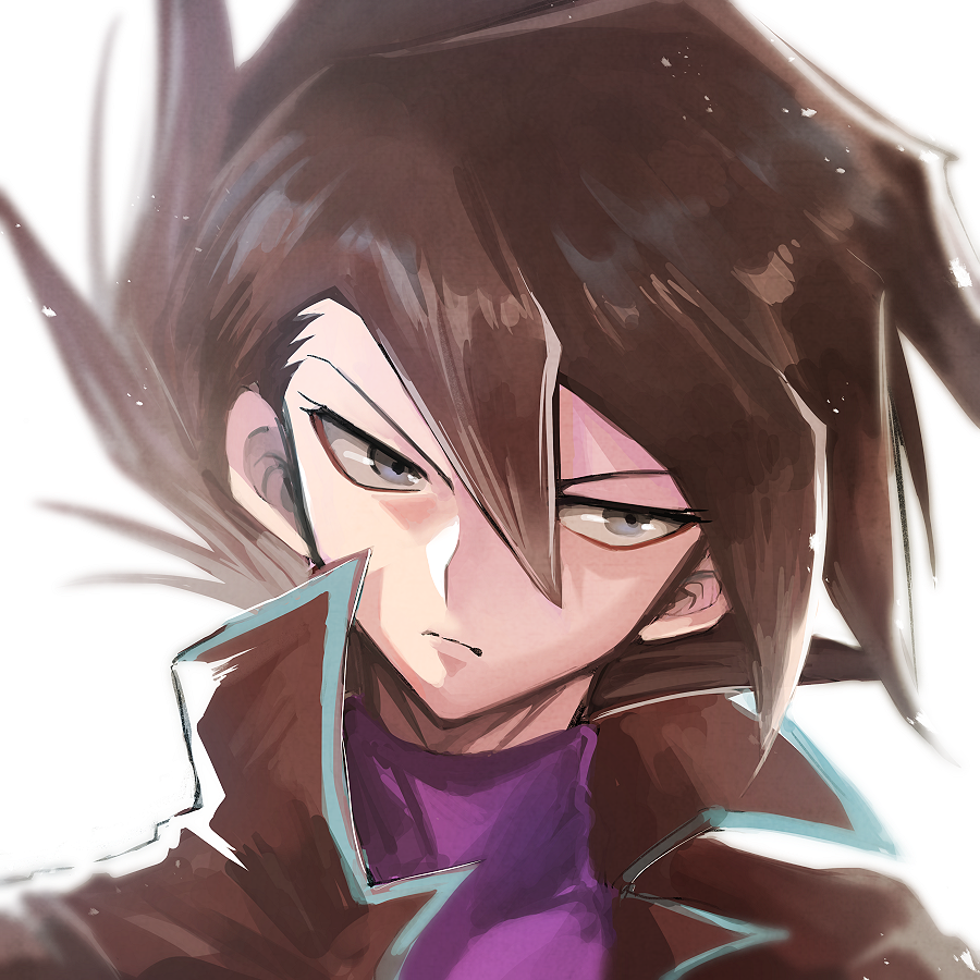 1boy black_hair black_jacket closed_mouth frown grey_eyes jacket looking_to_the_side male_focus manjoume_jun medium_hair purple_shirt shirt sk816 solo spiky_hair turtleneck yuu-gi-ou yuu-gi-ou_gx