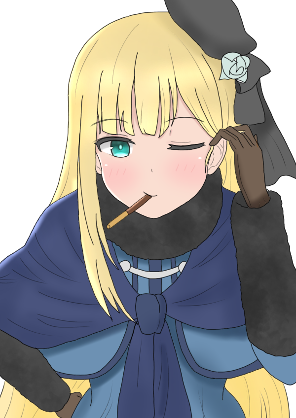 1girl aqua_eyes atsumisu bangs beret black_headwear black_ribbon blonde_hair blue_dress blush brown_gloves commentary_request dress eyebrows_visible_through_hair fate_(series) flower food food_in_mouth gloves hair_flower hair_ornament hair_tucking hand_on_hip hand_up hat long_hair long_sleeves looking_at_viewer lord_el-melloi_ii_case_files one_eye_closed pocky pocky_day reines_el-melloi_archisorte ribbon rose simple_background solo tilted_headwear upper_body very_long_hair white_background