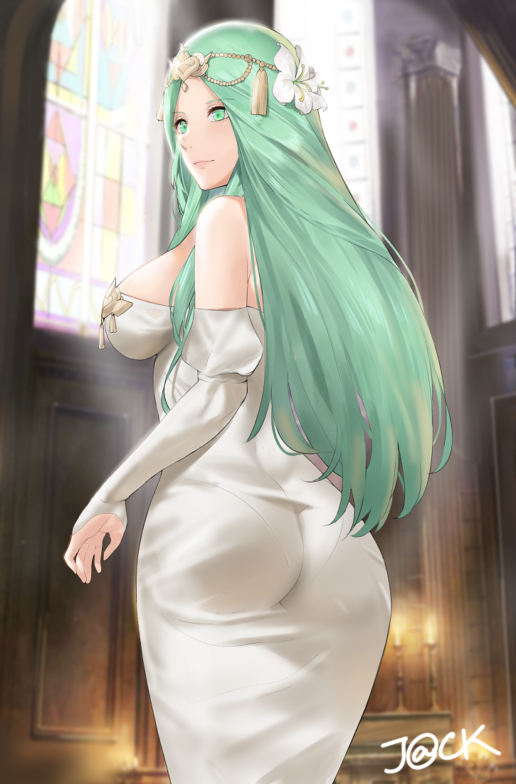 1girl aqua_eyes aqua_hair artist_name ass backlighting bangs blush breasts church_interior circlet closed_mouth commentary cowboy_shot dress fire_emblem fire_emblem:_three_houses flower hair_flower hair_ornament indoors j@ck juliet_sleeves large_breasts long_hair long_sleeves looking_away looking_to_the_side pantylines parted_bangs puffy_sleeves rhea_(fire_emblem) sideboob sleeves_past_wrists smile solo stained_glass strapless strapless_dress tassel very_long_hair white_dress white_flower window