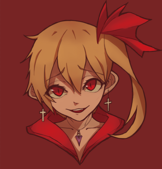 1girl blonde_hair collarbone cross cross_earrings earrings eyebrows_visible_through_hair face flandre_scarlet hitokuchii jewelry long_hair necklace open_mouth red_background red_eyes side_ponytail simple_background slit_pupils smile solo teeth touhou upper_teeth