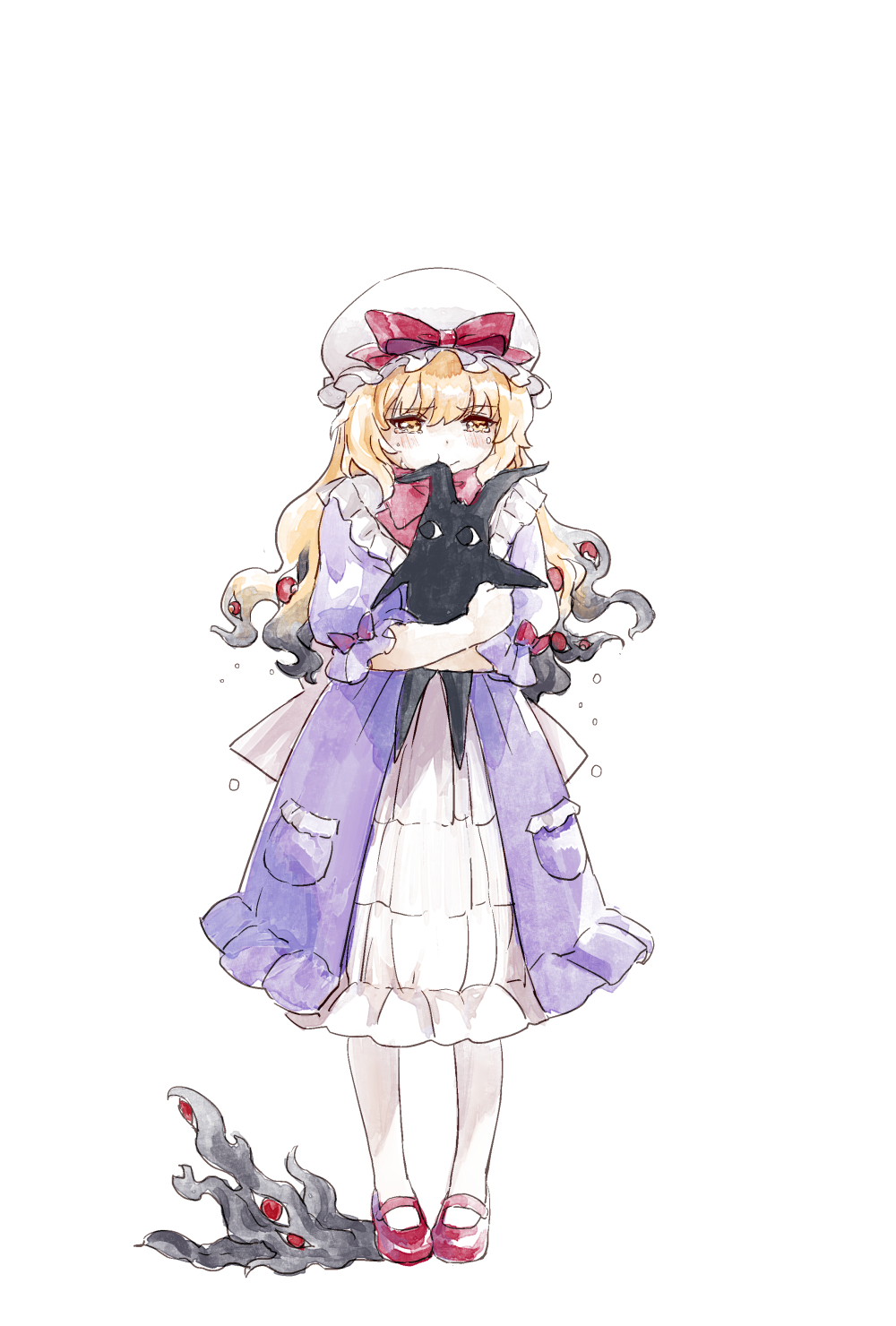 1girl bangs black_hair blonde_hair blush bow child crying crying_with_eyes_open dress extra_eyes eyes frilled_dress frills full_body gradient_hair hat hat_bow hat_ribbon highres karaori long_hair looking_down mary_janes mob_cap multicolored_hair object_hug pantyhose pigeon-toed pocket pout puffy_short_sleeves puffy_sleeves purple_dress red_bow red_footwear red_ribbon ribbon shoes short_sleeves simple_background solo standing stuffed_toy tears touhou two-tone_hair white_background white_headwear white_legwear yakumo_yukari yellow_eyes younger
