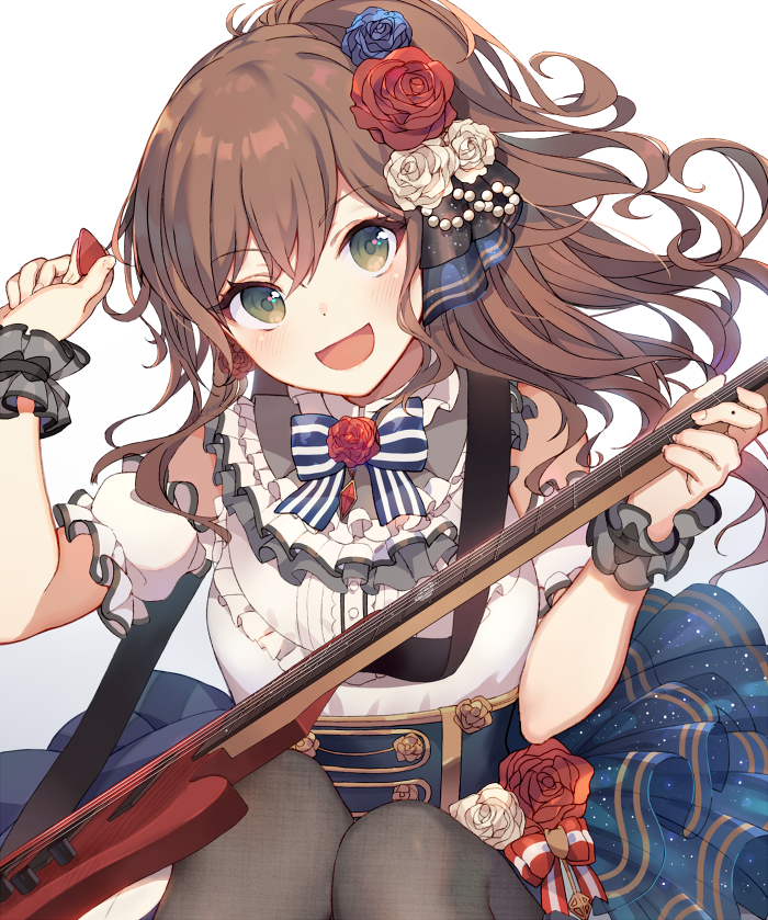 1girl arms_up bang_dream! bangs bass_guitar black_legwear black_straps blue_flower blue_rose blue_skirt blush bow bowtie breasts brown_hair commentary_request cowboy_shot curly_hair daredattakke detached_sleeves dot_nose dress flower frilled_dress frilled_sleeves frills green_eyes guitar hair_between_eyes hair_flower hair_ornament hair_ribbon half_updo holding holding_instrument imai_lisa instrument layered_skirt light_particles long_hair looking_at_viewer medium_breasts open_mouth pearl_(gemstone) plectrum ponytail red_flower red_rose ribbon rose sash scrunchie short_sleeves sidelocks simple_background skirt smile solo strap striped white_background white_dress white_flower white_rose wrist_scrunchie