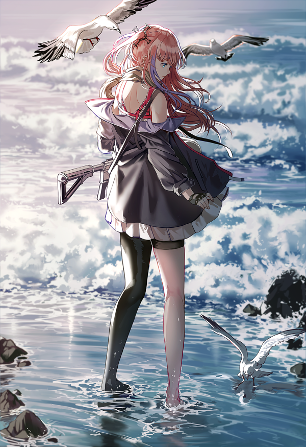 1girl ar-15 assault_rifle bangs barefoot bird blue_eyes closed_mouth clouds day dress fingerless_gloves floating_hair full_body girls_frontline gloves gun hair_between_eyes hair_ornament holding holding_gun holding_weapon jacket long_hair magpul multicolored_hair ocean off_shoulder one_side_up outdoors pink_hair rifle seagull side_ponytail sidelocks silence_girl single_thighhigh solo st_ar-15_(girls_frontline) standing streaked_hair thigh-highs wading waves weapon wind