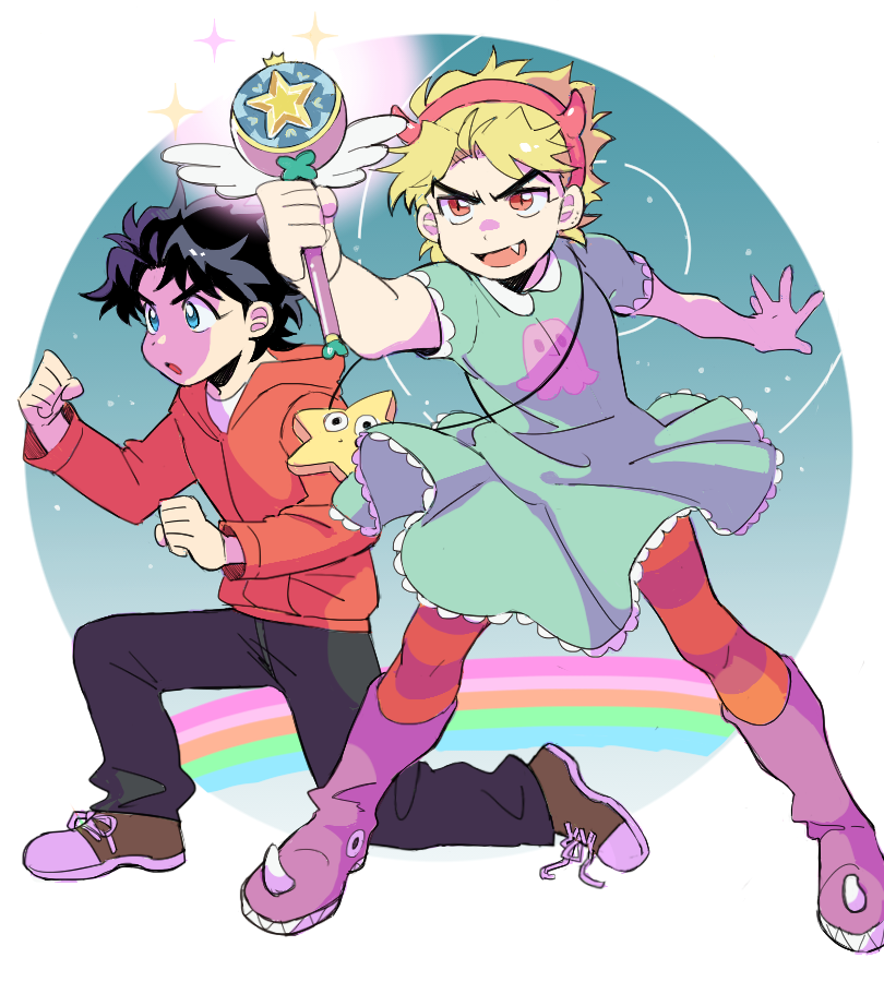 2boys aqua_dress black_hair black_pants blonde_hair blue_eyes boots cosplay dio_brando dress fang hood hoodie jojo_no_kimyou_na_bouken jonathan_joestar kirikabu-yume knee_boots marco_diaz marco_diaz_(cosplay) multiple_boys pants purple_footwear rainbow red_eyes shoes short_hair short_sleeves sneakers star_butterfly star_butterfly_(cosplay) star_vs_the_forces_of_evil striped striped_legwear tagme v-shaped_eyebrows white_background