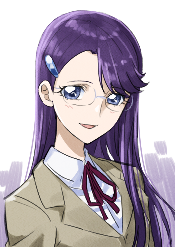 1girl :d blue_eyes brown_jacket collared_shirt dress_shirt glasses hair_ornament hairclip heartcatch_precure! jacket long_hair looking_at_viewer neck_ribbon open_mouth portrait precure purple_hair red_ribbon ribbon rimless_eyewear school_uniform shiny shiny_hair shirt simple_background smile solo tsukikage_oyama tsukikage_yuri very_long_hair white_background white_shirt wing_collar