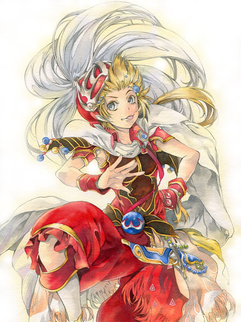 1boy blonde_hair blue_eyes cape commentary_request dissidia_final_fantasy final_fantasy final_fantasy_iii hair_ornament hand_on_hip helmet issun_boushi_(ilmtkimoti) leg_up long_hair looking_at_viewer onion_knight outstretched_hand pants plume ponytail red_pants red_shirt sheath sheathed shirt shoulder_armor simple_background sleeveless sleeveless_shirt solo tongue tongue_out traditional_media watercolor_pencil_(medium) white_background wrist_cuffs