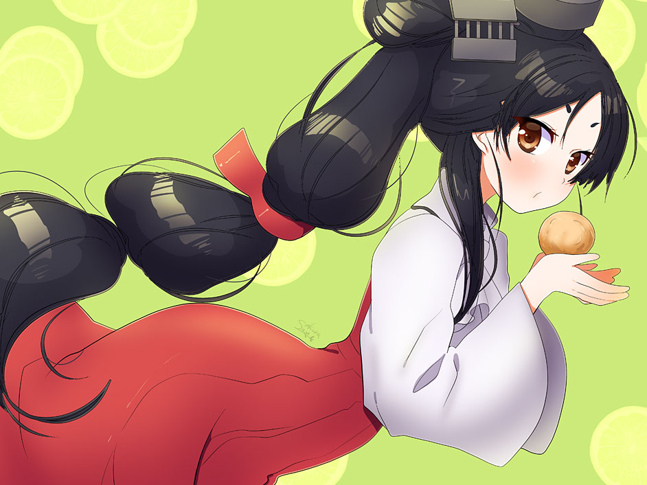 1girl alternate_costume black_hair brown_eyes dutch_angle food from_side green_background hair_ornament hair_tie high_ponytail holding holding_food kantai_collection long_hair long_skirt long_sleeves multi-tied_hair nisshin_(kantai_collection) red_ribbon red_skirt ribbon shirt short_eyebrows skirt solo suou_sakura very_long_hair white_shirt