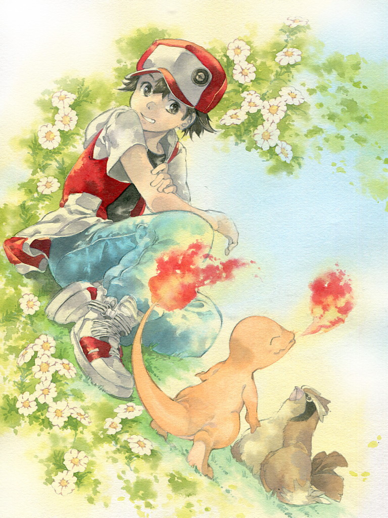 1boy baseball_cap black_eyes black_hair black_shirt charmander commentary_request daisy denim fire flower gen_1_pokemon grass hat issun_boushi_(ilmtkimoti) jacket jeans outdoors pants pidgey pokemon red_(pokemon) red_headwear red_jacket shirt shoes short_sleeves sitting sneakers traditional_media watercolor_pencil_(medium) white_footwear