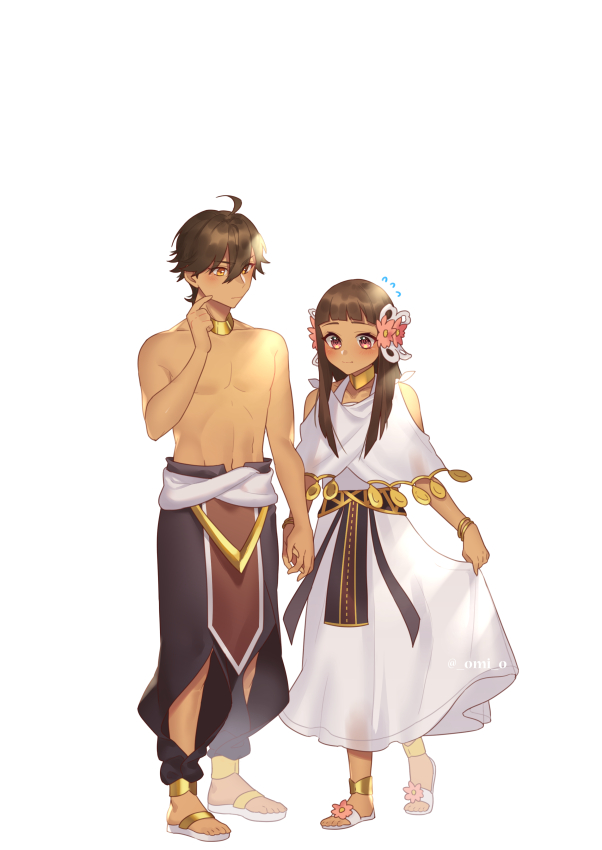1boy 1girl ahoge anklet bangs bare_shoulders blunt_bangs bracelet brown_hair coin_(ornament) dark_skin dark_skinned_male dress fate/prototype fate/prototype:_fragments_of_blue_and_silver fate_(series) finger_to_cheek flip-flops flower flying_sweatdrops full_body hair_between_eyes hair_flower hair_ornament halterneck imminent_hand_holding jewelry long_hair looking_down necklace nefertari_(fate/prototype_fragments) omi_(tyx77pb_r2) ozymandias_(fate) pants sandals sash shirtless simple_background skirt_hold standing violet_eyes white_background white_dress