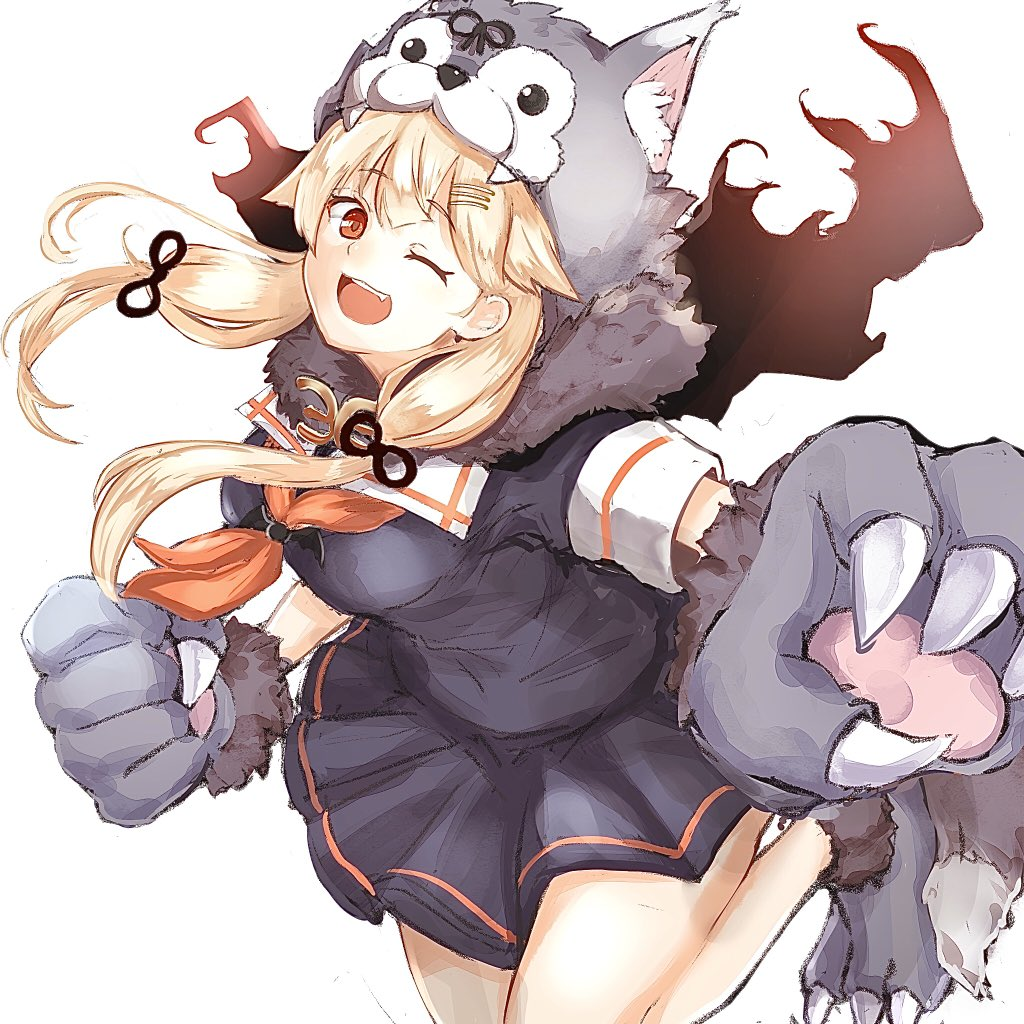 1girl animal_hood bangs black_skirt blonde_hair breasts dog_hood eyebrows_visible_through_hair gloves hair_flaps hair_ornament hair_ribbon hairclip halloween halloween_costume hood kantai_collection long_hair one_eye_closed open_mouth paw_gloves paw_shoes paws pleated_skirt red_eyes red_neckwear remodel_(kantai_collection) ribbon sailor_collar school_uniform serafuku shoes short_sleeves simple_background skirt solo white_background ymmt yuudachi_(kantai_collection)
