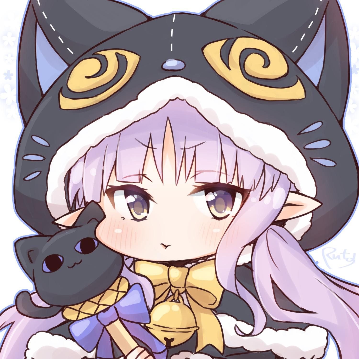 1girl :t animal_ears animal_hood bell black_capelet blush bow brown_eyes capelet cat_ears cat_hood closed_mouth commentary_request fake_animal_ears floral_background fur-trimmed_capelet fur-trimmed_hood fur_trim highres hikawa_kyoka hood hood_up hooded_capelet jingle_bell long_hair looking_at_viewer pointy_ears pout princess_connect! princess_connect!_re:dive purple_bow purple_hair ruta_(rt_aitrt) signature simple_background solo twintails upper_body v-shaped_eyebrows white_background yellow_bow