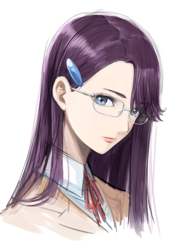 1girl asymmetrical_bangs bangs blazer blue_eyes collared_shirt dress_shirt glasses grey-framed_eyewear hair_ornament hairclip heartcatch_precure! jacket long_hair looking_at_viewer neck_ribbon portrait precure purple_hair red_ribbon ribbon shiny shiny_hair shirt simple_background sketch solo tsukikage_oyama tsukikage_yuri white_background white_shirt wing_collar