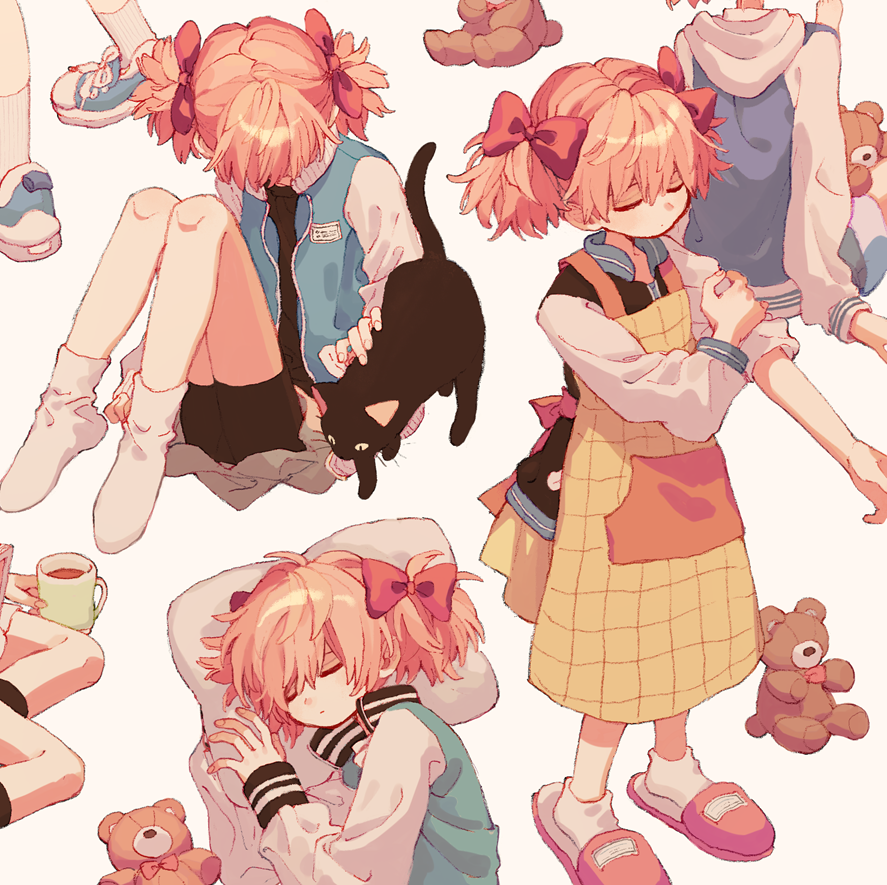 1girl animal apron barefoot beige_background bike_shorts black_cat blue_footwear bow cat closed_eyes closed_mouth cup drink from_side hair_bow hair_ornament hood hood_down hooded_jacket jacket ka_(marukogedago) long_sleeves lying mug multiple_views muted_color no_shoes on_side open_clothes open_jacket original pillow shoelaces shoes short_hair short_twintails simple_background sitting sleeping sleeves_rolled_up slippers sneakers socks standing stuffed_animal stuffed_toy teddy_bear twintails yokozuwari