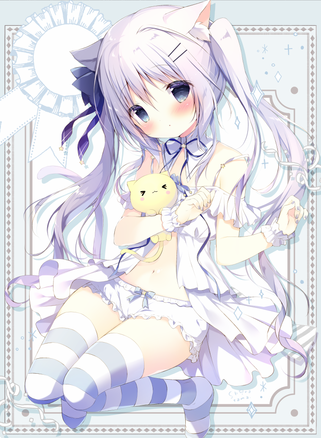 >_< 1girl animal_ear_fluff animal_ears bangs bare_shoulders bloomers blue_bow blue_eyes blush bow cat_ears cat_girl cat_tail closed_mouth commentary_request dress eyebrows_visible_through_hair grey_nails hair_between_eyes hair_bow hair_ornament hairclip long_hair looking_at_viewer nail_polish navel no_shoes object_hug off-shoulder_dress off_shoulder original shiratama_(shiratamaco) signature silver_hair solo sparkle striped striped_legwear stuffed_animal stuffed_cat stuffed_toy tail thigh-highs twintails underwear very_long_hair white_bloomers white_dress wrist_cuffs
