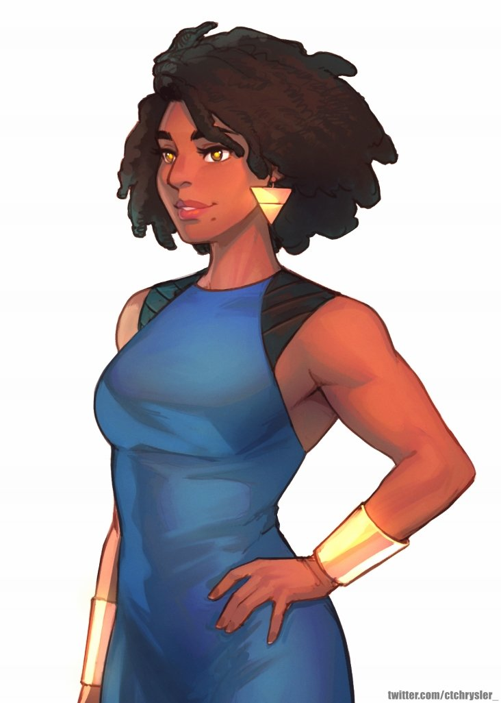 1girl afro annie_mei_project big_hair blue_dress bracer brown_eyes caleb_thomas dark_skin dress hairlocs hand_on_hip hanging_on lips mole mole_under_mouth nose retro_mei sleeveless sleeveless_dress solo thick_eyebrows toned triangle_earrings very_dark_skin white_background