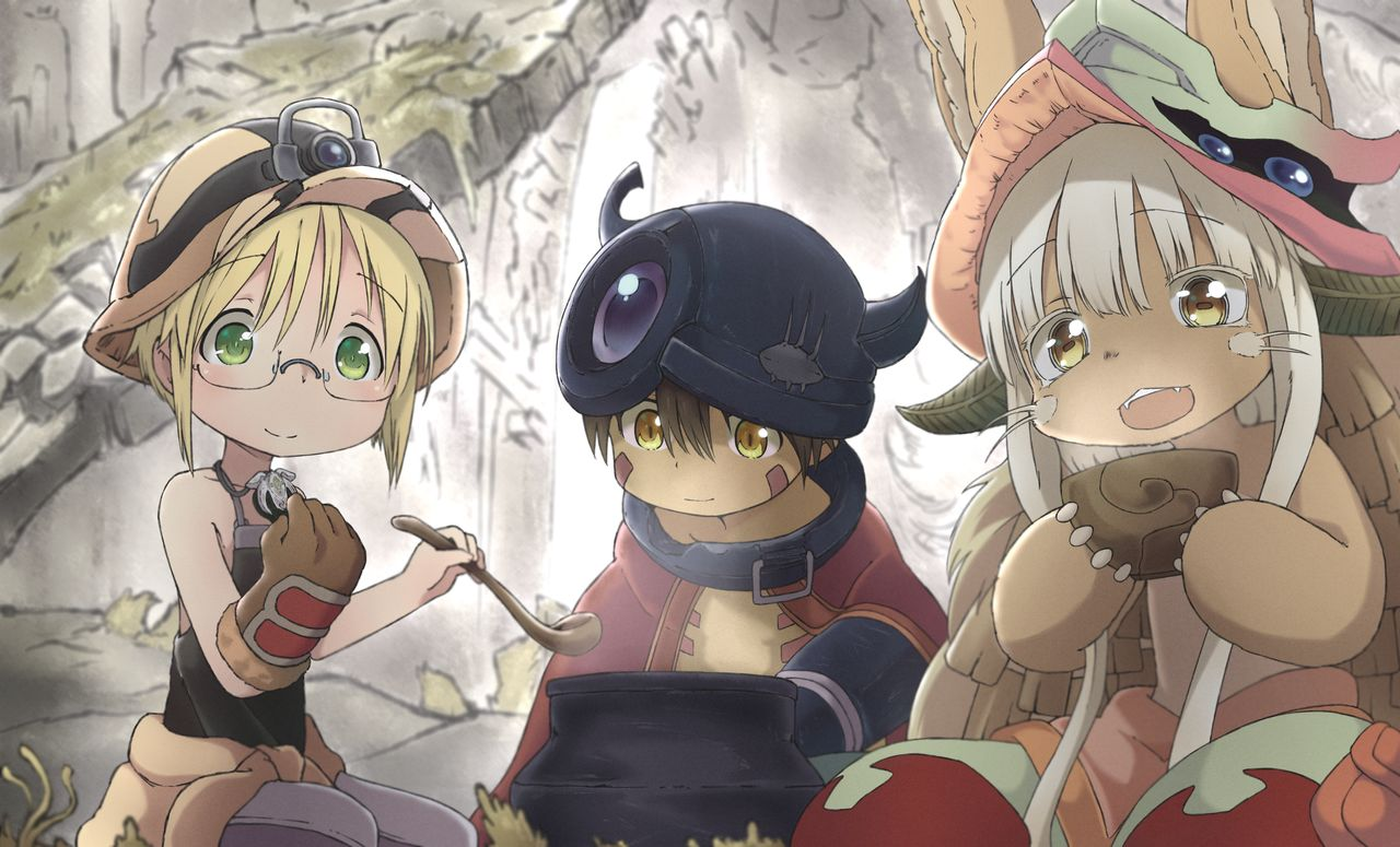 1boy 1girl 1other ambiguous_gender animal_ears black_shirt blonde_hair blue_pants bowl brown_gloves brown_hair brown_headwear cape dark_skin ears_through_headwear fangs furry glasses gloves green_eyes hat headlamp helmet horizontal_pupils horned_helmet horns kukie-nyan ladle made_in_abyss mechanical_arm nanachi_(made_in_abyss) pants rabbit_ears red_cape regu_(made_in_abyss) riko_(made_in_abyss) shirt shirtless tank_top whiskers whistle whistle_around_neck white_hair yellow_eyes