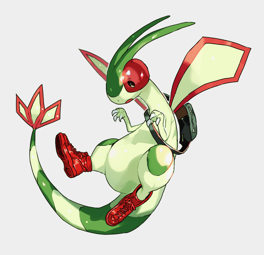 backpack bag clothed_pokemon flygon flying full_body gen_3_pokemon newo_(shinra-p) no_humans pokemon pokemon_(creature) red_footwear shoe_soles shoes sneakers solo