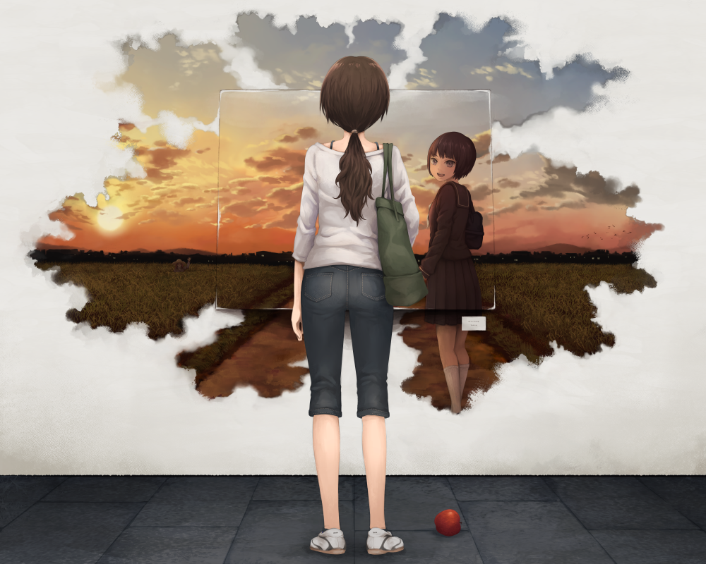 3girls abstract age_comparison apple bag bob_cut brown_eyes brown_hair capri_pants clouds denim dual_persona food fruit happy hat hill house long_hair looking_back low_ponytail multiple_girls open_mouth original pants path rice_paddy rural school_uniform serafuku short_hair shoulder_bag sky smile straw_hat sunset town waving yajirushi_(chanoma)