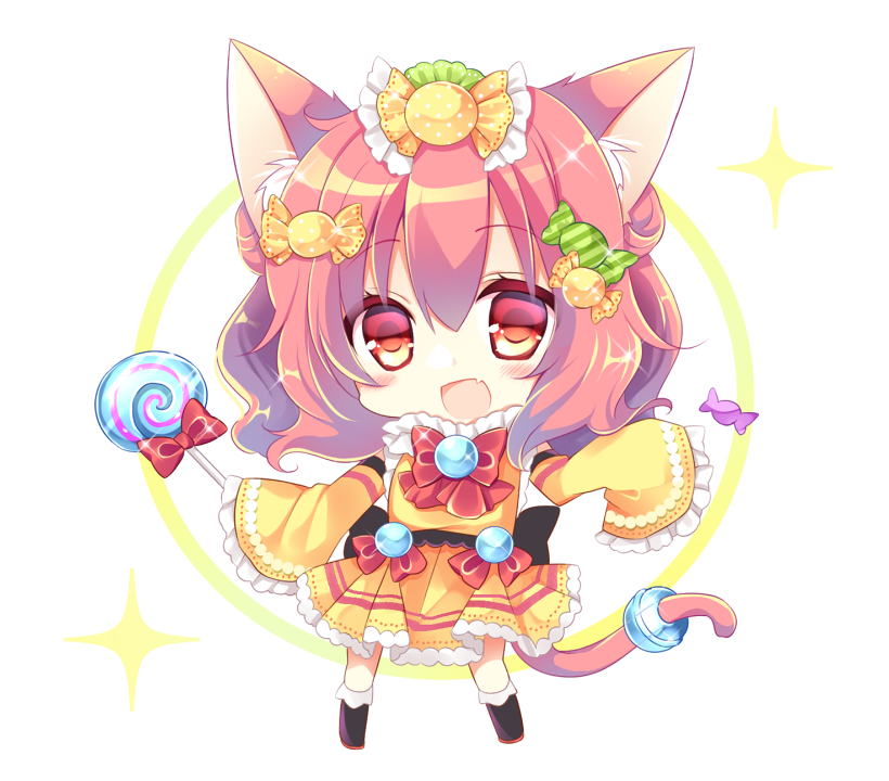 1girl :d animal_ear_fluff animal_ears bangs black_footwear blush boots bow brown_hair candy candy_hair_ornament candy_wrapper cat_ears cat_girl cat_tail chibi commentary_request dress eyebrows_visible_through_hair fang food food_themed_hair_ornament frilled_dress frilled_sleeves frills full_body hair_between_eyes hair_ornament holding holding_food holding_lollipop knee_boots lollipop long_hair long_sleeves looking_at_viewer open_mouth original red_bow red_eyes shikito sleeves_past_fingers sleeves_past_wrists smile solo standing swirl_lollipop tail tail_ornament white_background wide_sleeves yellow_dress