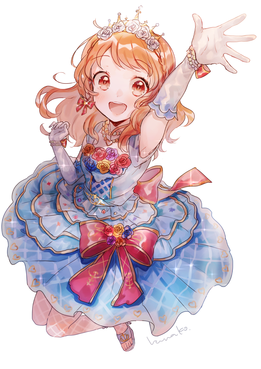 1girl :d aikatsu! aikatsu!_(series) arm_up armpits back_bow blush bow bow_earrings braid brown_eyes crown_braid dress dress_bow eyebrows_visible_through_hair fishnet_legwear fishnets flower from_above full_body gloves hair_flower hair_ornament hanako151 heart heart_necklace highres idol jewelry long_hair necklace oozora_akari open_mouth pearl_necklace round_teeth signature simple_background sleeveless sleeveless_dress smile solo teeth tiara upper_teeth white_background