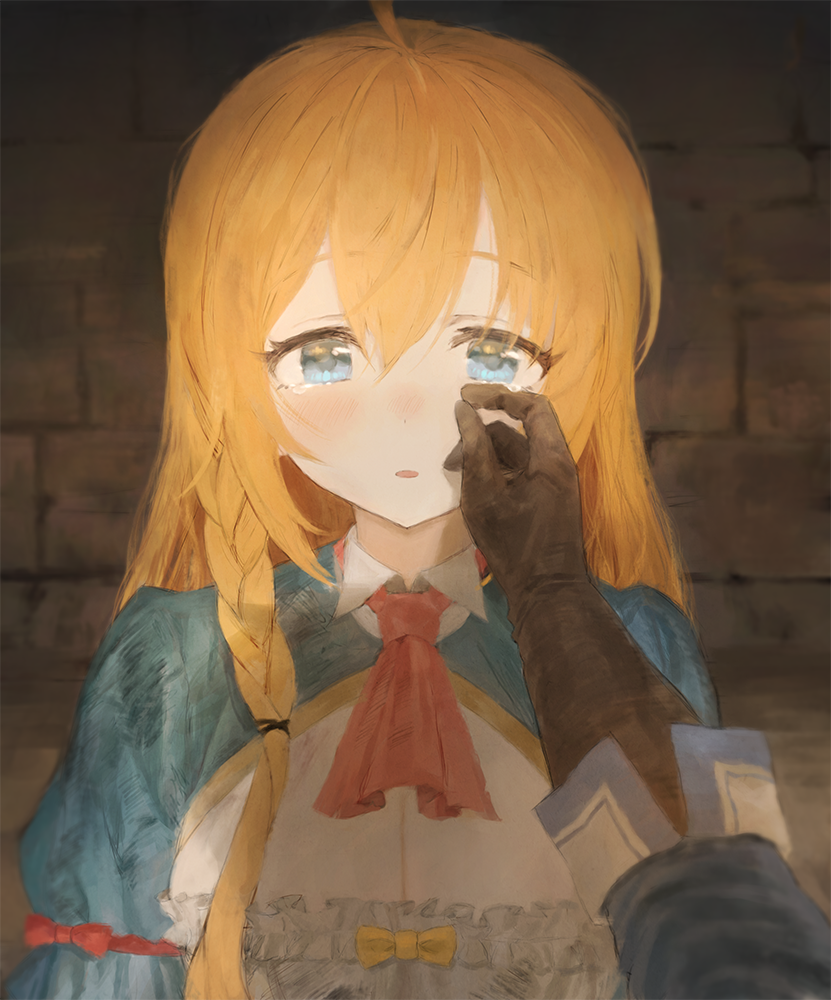 1girl blue_eyes blush braid breasts brown_gloves frills gloves hair_between_eyes long_hair looking_at_viewer pecorine princess_connect! princess_connect!_re:dive red_neckwear sonchi standing tearing_up tears upper_body wall wiping_tears